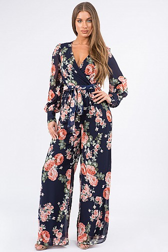 FLORAL CHIFFON WRAP FRONT LONG SLV TIE WAIST FULL LINING PALAZZO JUMPSUIT